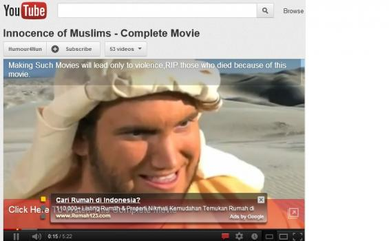 Film Innocence of Muslims Masih Tayang di Youtube