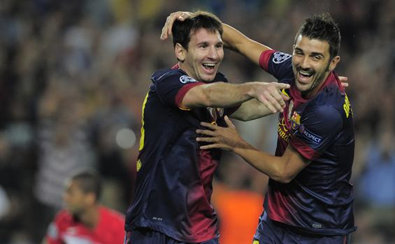 David Villa Messi Lionel Messi Dan David Villa