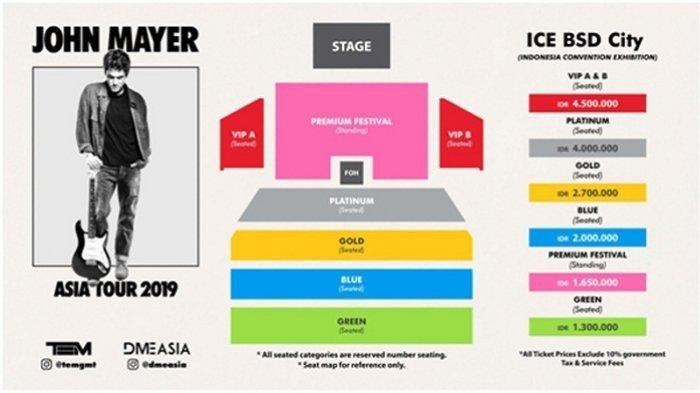 INFORMASI tiket konser John Mayer di ICE BSD City, 5 April 2019