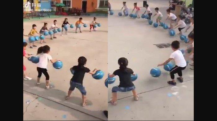 Hebat, Video Anak-Anak TK di China Main Game Dribble Bola Basket, Kompak dan Penuh Kerja Sama