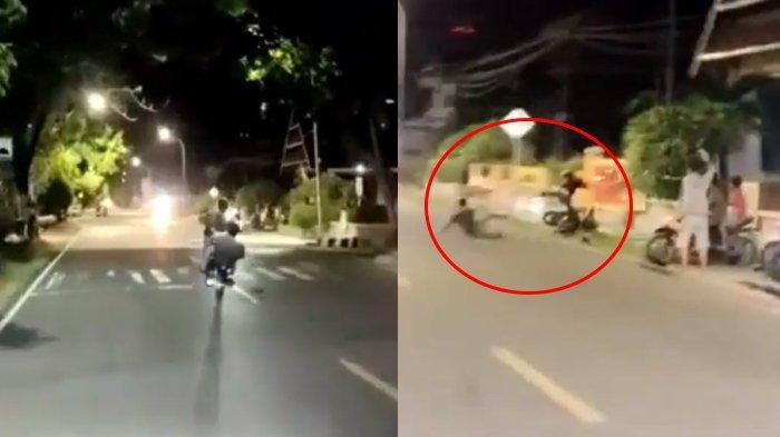 Viral Pamer Aksi Standing Motor Berakhir Celaka, Seorang Pemuda Jatuh Terpelanting Ke Dalam Selokan