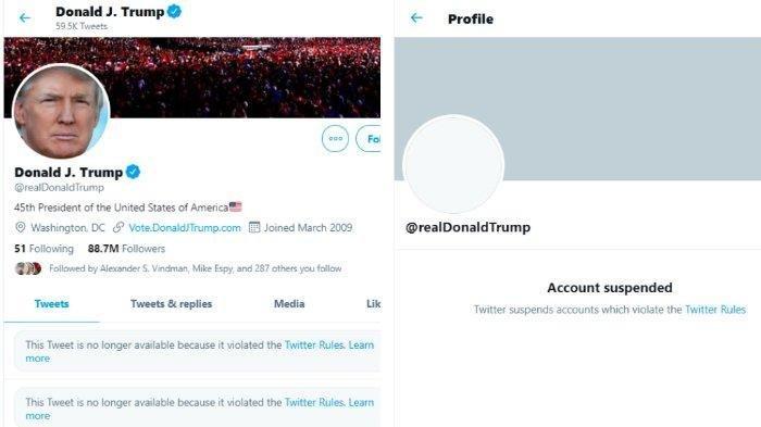 Akun Twitter Donald Trump. Twitter mengungkapkan akun Donald Trump, @realDonaldTrump, ditutup secara permanen karena dinilai memicu kekerasan lebih lanut.