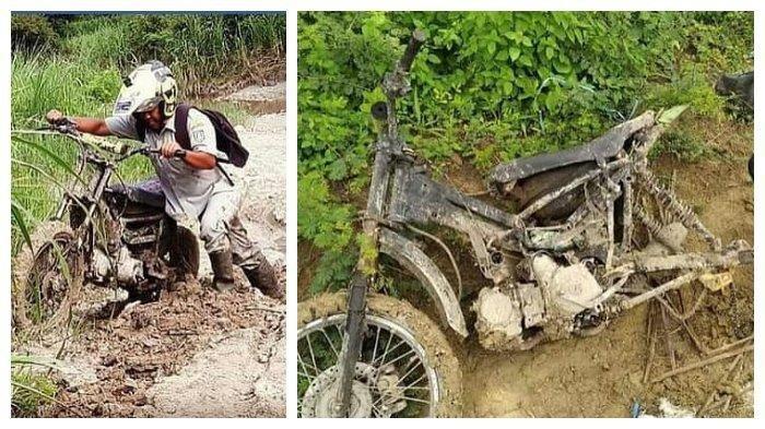 Perjuangan Guru Honorer Mengajar di Pelosok, 9 Kali Ganti Sepeda Motor, Upah Rp 300 per Bulan