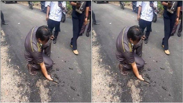 Viral Anggota DPRD Mengorek Aspal Pakai Tangan hingga Terkelupas, Geram Proyek Dikerjakan Asal Jadi