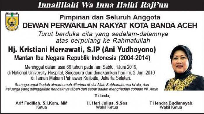 Ucapan Duka Cita dari DPRK BAnda Aceh atas Berpulang ke Rahmatullah Ani Yudhoyono