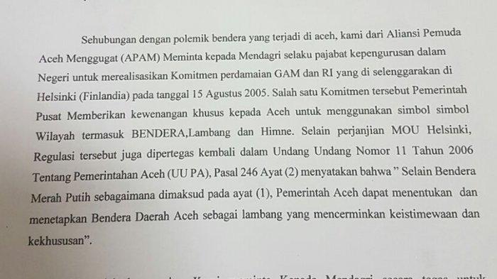 Tanya Soal Bendera Aceh, Aliansi Pemuda Aceh Menggugat Surati Mendagri