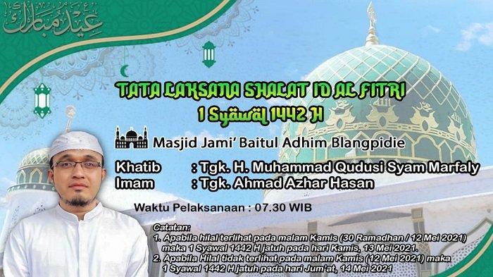 Abu Muda Khatib Shalat Idul Fitri 1442 H di Masjid Jamik Baitul Adhim Blangpidie