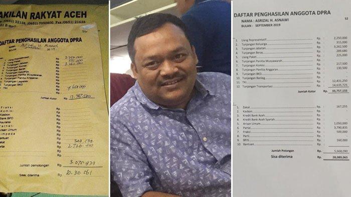 Asrizal Posting Slip Gaji Pertama dan Terakhir sebagai Anggota DPRA 2014-2019, Berapa Zakatnya?