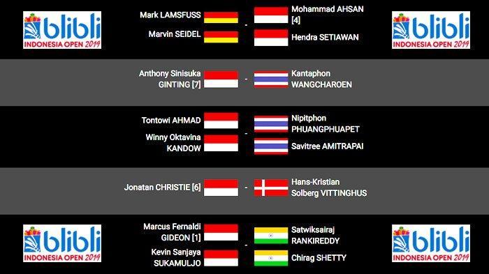 Indonesia Open 2019 Hari Ini - Ahsan/Hendra, Ginting, Owi/Winny, Jojo, Marcus/Kevin Berturut-turut