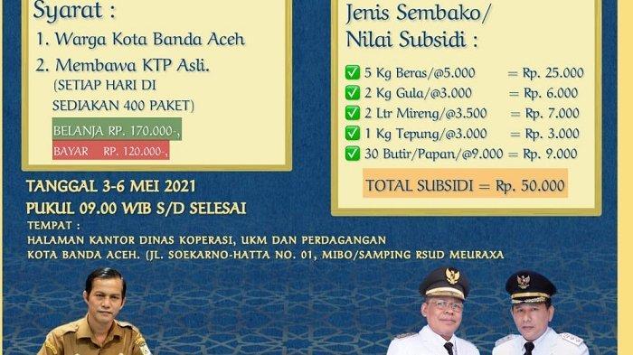 Banda Aceh akan Gelar Pasar Murah, Paket Sembako Rp 170.000 Dijual Rp 120 Ribu, Ini Isi & Syaratnya