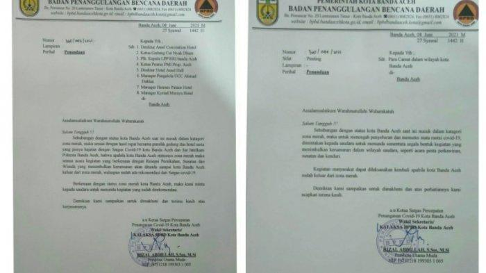Banda Aceh Zona Merah Covid-19, Segala Kegiatan Kerumunan Harus Ditunda, Ini Isi Surat Satgas