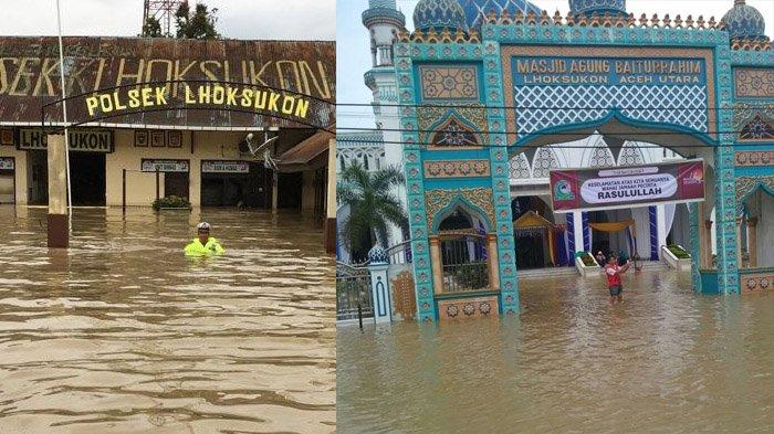 Dahsyatnya Banjir di Lhoksukon, Merendam Mapolsek, Menggenangi Masjid, Ini Foto dan Videonya