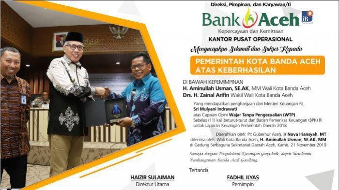 Bank Aceh Mengucapkan Selamat dan Sukses Kepada Pemerintah Kota Banda Aceh