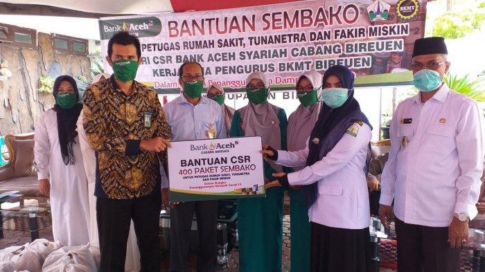 400 Paket Sembako CSR Bank Aceh Syariah Bireuen Disalurkan