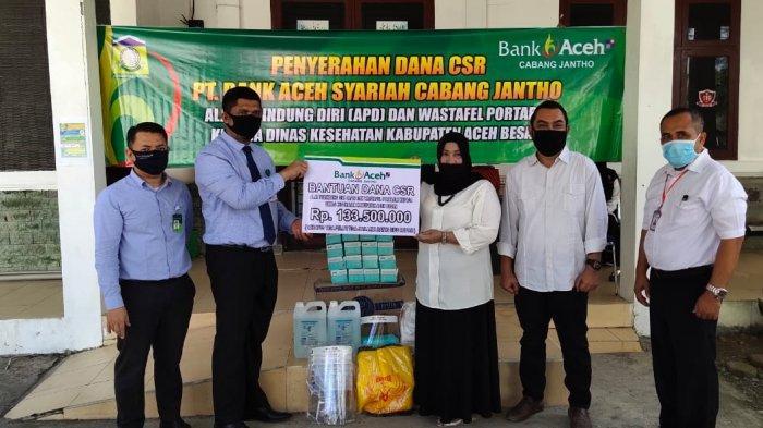 Bank Aceh Syariah Cabang Jantho Salurkan Bantuan CSR Untuk Penanganan Covid-19 di Aceh Besar