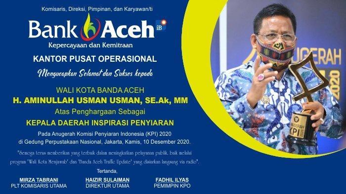 Ucapan Selamat dari Bank Aceh KPO untuk Walikota Banda Aceh