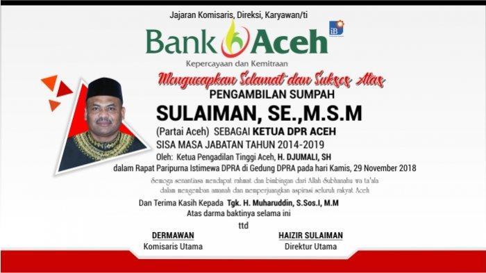 Ucapan Selamat dari Bank Aceh Syariah untuk Sulaiman, SE.,M.S.M