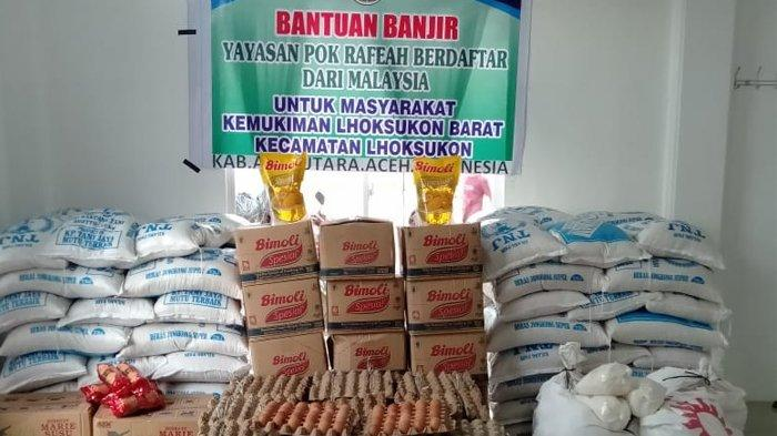 Bantuan untuk korban banjir di Kemukiman Lhoksukon Barat dari Pok Rafeah Kuala Lumpur, yang akan disalurkan jaringan Komunitas Melayu Aceh Malaysia (KMAM), Kamis (7/1/2021).