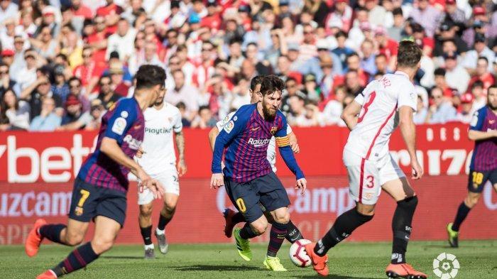 Hasil Liga Spanyol - Barcelona Gilas Sevilla, Lionel Messi Cetak Hattrick dan Sumbang Satu Assist
