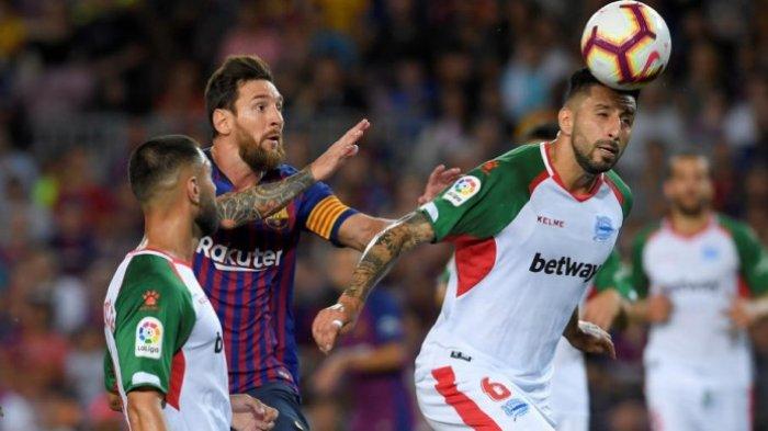 Hasil Liga Spanyol 2018 - Lionel Messi Pimpin Barcelona Hancurkan Deportivo Alaves