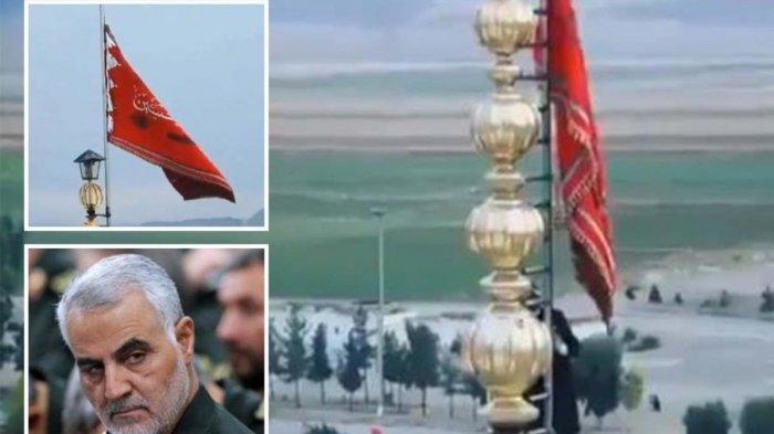 Benarkah Bendera Merah Pertama Kali Berkibar di Iran dan Isyarat Perang atas Terbunuhnya Soleimani?