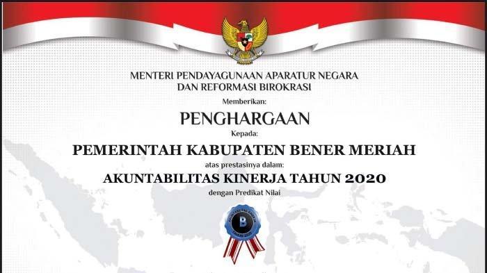Bener Meriah Raih Nilai B SAKIP Award 2020, Bupati Sarkawi: Tahun Depan Target 'BB'