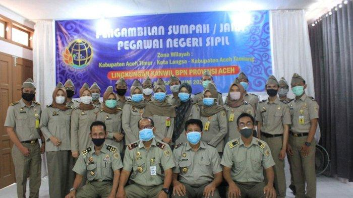 18 PNS BPN Aceh di Langsa Diambil Sumpah via Video Conference