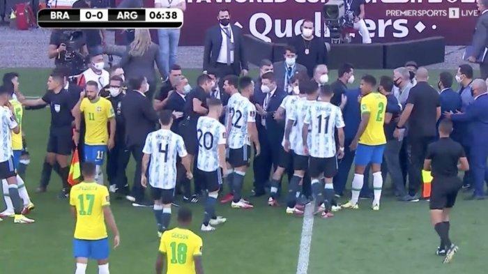 Baru Bergulir 6 Menit, Brasil Vs Argentina Dihentikan, Lionel Messi cs Dipaksa Tinggalkan Lapangan