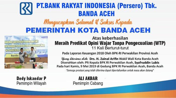 Ucapan Selamat dari BRI Cabang Banda Aceh atas Keberhasilan Meraih Predikat WTP ke 11 kali