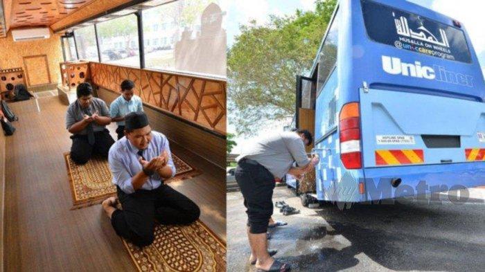 Viral, Bus Disulap JadiMusalla Portable, Dilengkapi Tangki Air, Pipa Wuduk, AC, Sandal, dan Sajadah