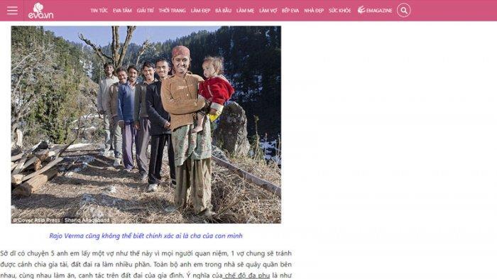 Capture halaman eva.vn yang memperlihatkan seorang wanita menikahi lima laki-laki yang masih bersaudara.