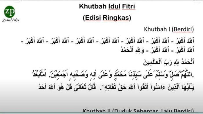 Contoh Khutbah Shalat Idul Fitri di Rumah Akibat Covid-19, Edisi Ringkas