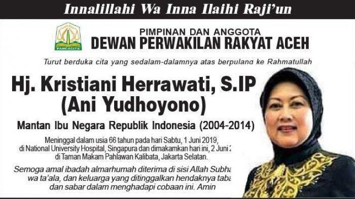 Ucapan Duka Cita dari DPRA atas Berpulang ke Rahmatullah Ani Yudhoyono