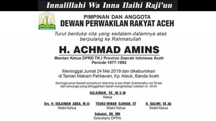 Ucapan Duka Cita dari DPRA atas Berpulang ke Rahmatullah H. Achmad Amins