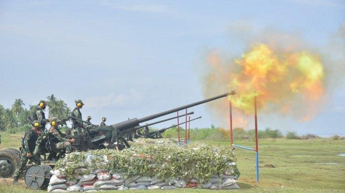 Detasemen Arhanud–001 Latihan Menembak di Pantai Kuala Cangkoi Aceh Utara