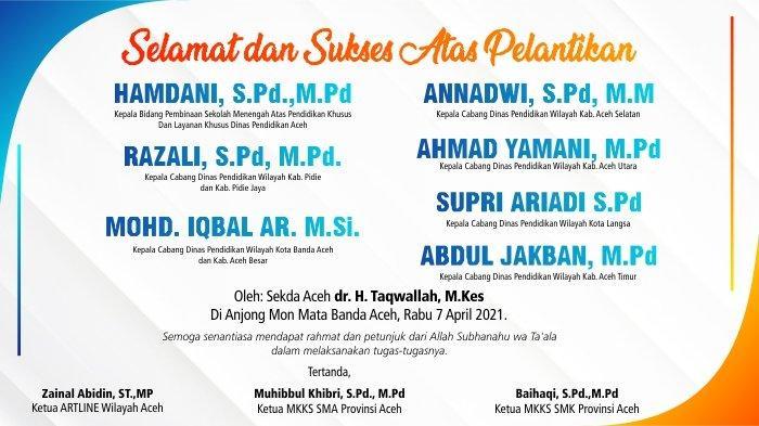 Selamat dan Sukses Atas Pelantikan Kabid dan Kepala Cabang Dinas Pendidikan Wilayah