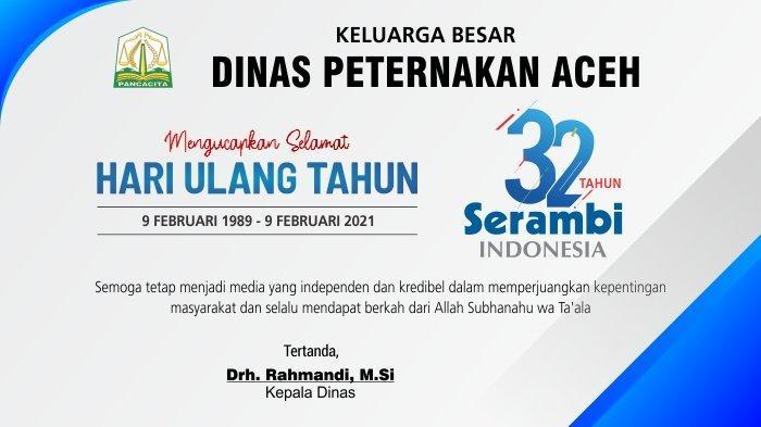 Ucapan Selamat HUT ke-32 Serambi Indonesia dari Dinas Peternakan Aceh