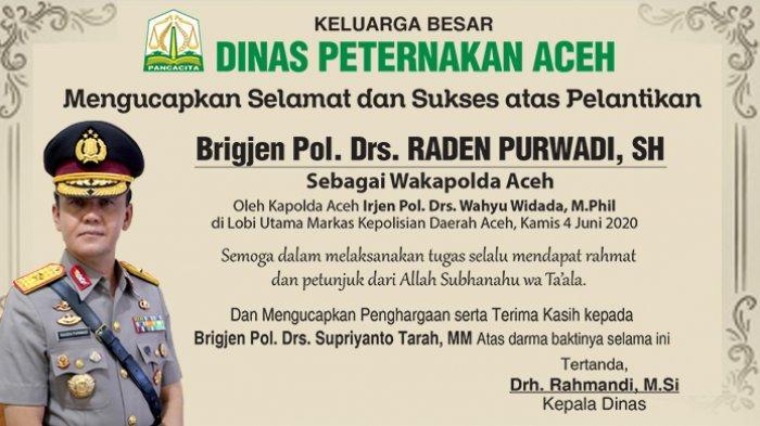 Ucapkan Selamat dan Sukses atas Pelantikan Wakapolda Aceh dari Dinas Peternakan Aceh