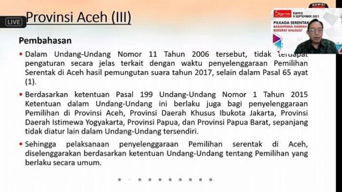 Bahas Pilkada Aceh 2022, Komisioner KPU: Tidak Jelas Tanggal & Jadwal, Ikut Peraturan Secara Umum