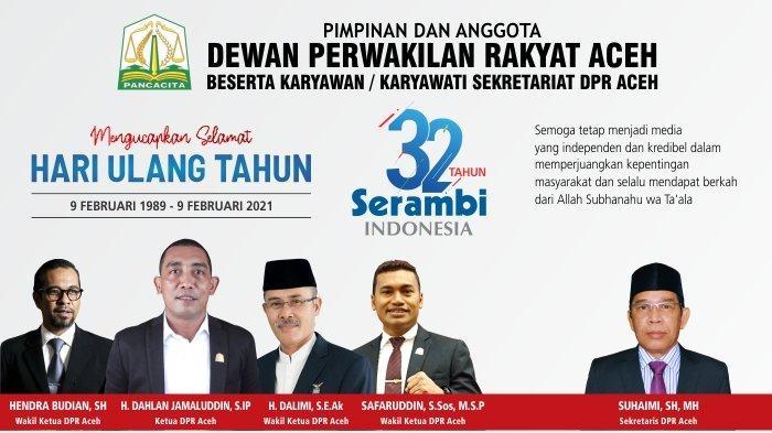 Ucapan Selamat HUT ke-32 Serambi Indonesia dari DPR Aceh