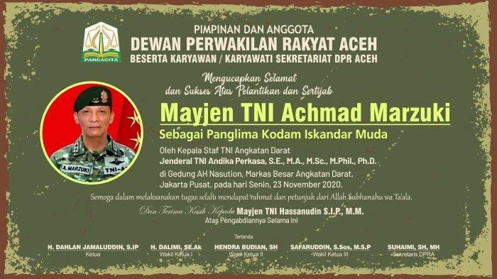 Ucapan dari Dewan Perwakilan Rakyat Aceh untuk Panglima Kodam Iskandar Muda