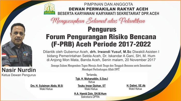 Ucapan Selamat Atas Pelantikan Pengurus F-PRB Aceh 2017-2022 dari DPR Aceh