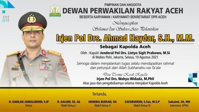 DPRA Mengucapkan Selamat Atas Pelantikan Kapolda Aceh