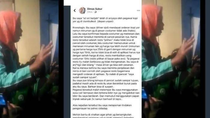 Hanya Karena Tak Bisa Edit Orderan, Ibu-ibu Driver Ojol Dimaki Pegawai Restoran hingga Dilempar Susu