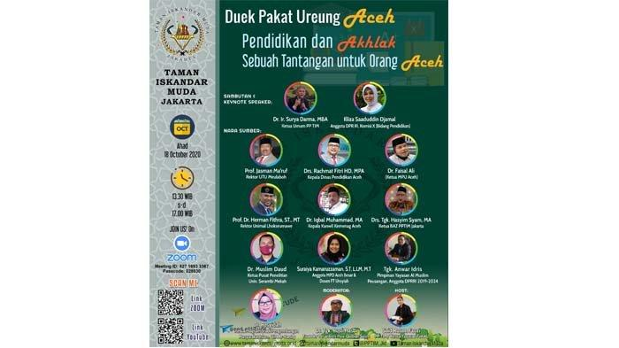 TIM Jakarta Adakan 'Duek Pakat Ureung Aceh' Secara Virtual, Bahas Pendidikan dan Tantangan Bagi Aceh