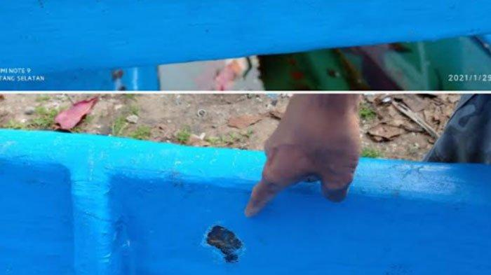 Kondisi perahu berbahan fiber yang baru diterima nelayan Simeulue sudah mulai rusak, foto direkam beberapa waktu lalu.