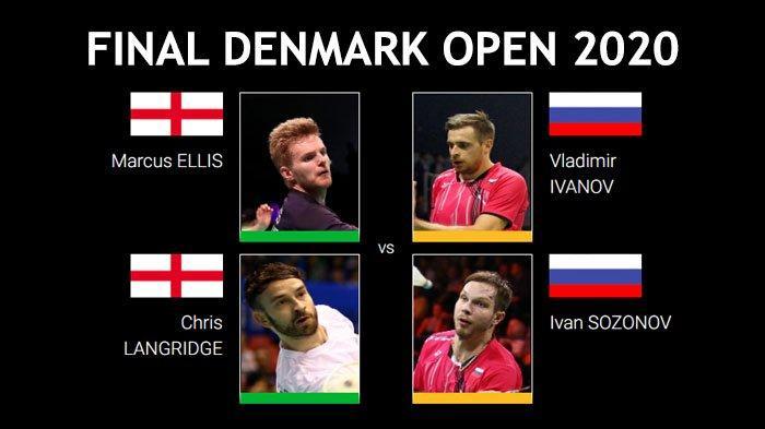 Final Denmark Open 2020 sektor ganda putra antara Marcus Ellis/Chris Langridge (England) vs Vladimir Ivanov/Ivan Sozonov (Rusia), Minggu (18/10/2020).