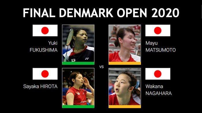 Final Denmark Open 2020 sektor ganda putri antara Yuki Fukushima/Sayaka Hirota (Jepang) vs Mayu Matsumoto/Wakana Nagahara (Jepang), Minggu (18/10/2020).