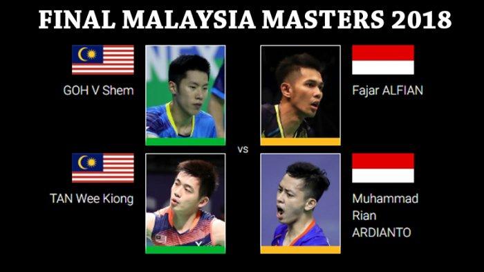 Live Streaming Final Malaysia Masters 2018 - Fajar/Rian Akan Hadapi Ganda Putra Terbaik Tuan Rumah