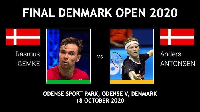 Final Denmark Open 2020 sektor tunggal putra antara Rasmus Gemke vs Anders Antonsen, Minggu (18/10/2020).
